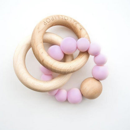 Bubble Silicone and Wood Teether - Lilac