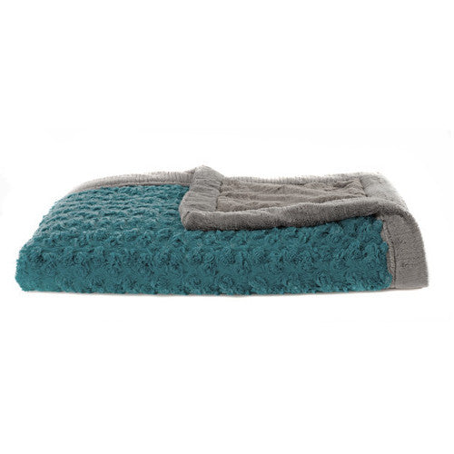 Saranoni Receiving Blanket-  Teal Swirl with Charcoal Lush Back