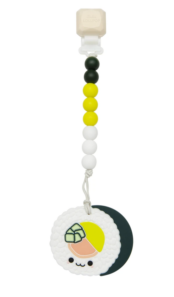 Loulou Lollipop - Sushi Roll Silicone Teether Set Gem Clip
