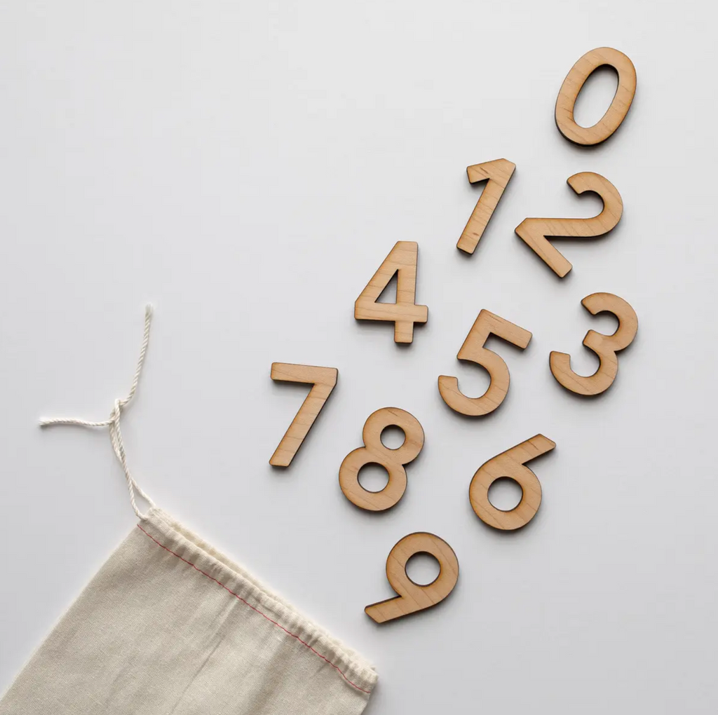 Gladfolk - Wooden Number Set • Numerals & Math Equation Signs, Maple