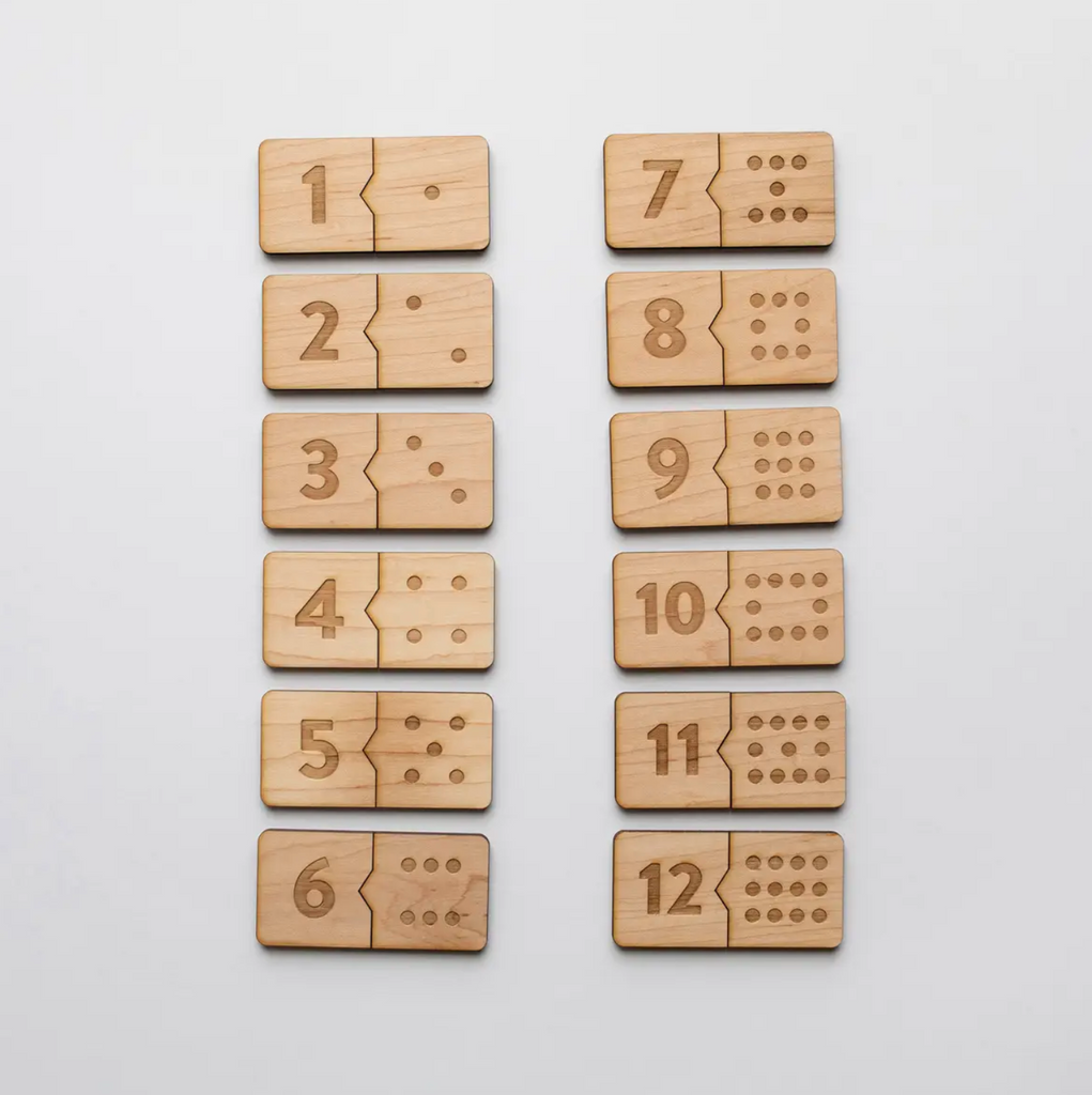 Gladfolk - Wooden Number Match Puzzle • Modern Domino Style Kids Game