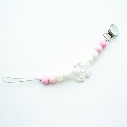 Lolli Flower Silicone Pacifier Clip - Baby Powder