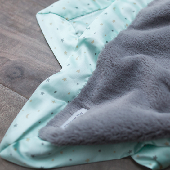 Saranoni Mini Blanket - Gray Lush with Mint Twinkle Star Satin Back