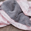 Saranoni Receiving Blanket - Gray Lush with Blush Twinkle Star Satin Back