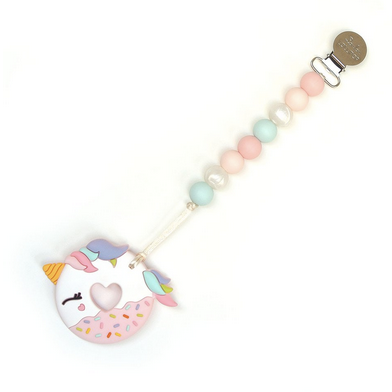 Pink Unicorn Donut Silicone Teether with Holder