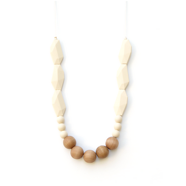 Joan Wood + Silicone Teething Necklace - Cream