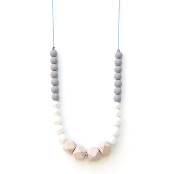 Geo Statement Silicone Teething Necklace - Blush Opal