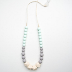Geo Statement Silicone Teething Necklace - Mint