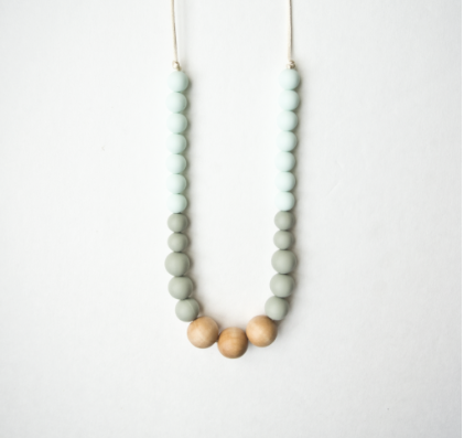 Naturalist Wood + Silicone Teething Necklace - Mint Sage