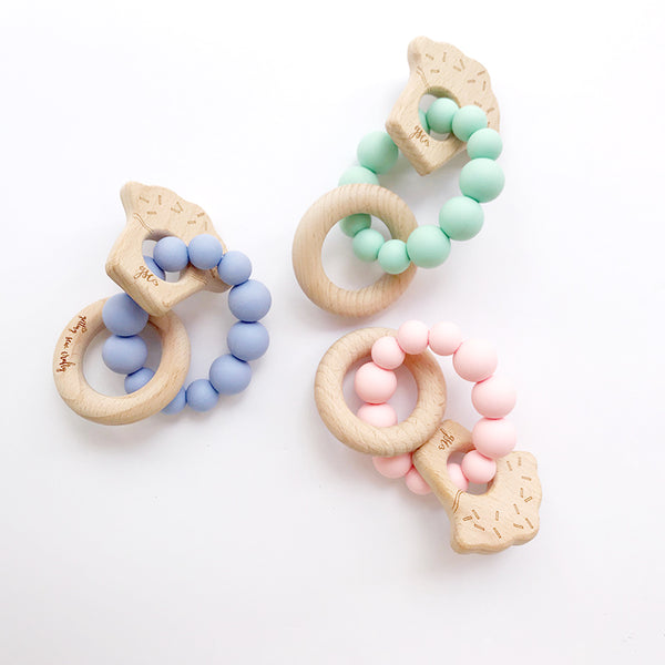 Cupcake Handheld Silicone and Wood Teething Toy