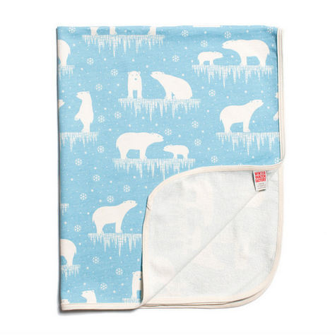 Winter Water Factory French Lightweight Blanket - Polar Bears Arctic Blue - GreenPath Baby
