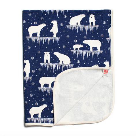 Winter Water Factory French Blanket - Polar Bears Mighnight Blue - GreenPath Baby