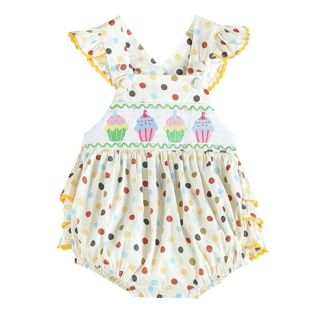 Lil Cactus - Colourful Cupcake Bubble Romper with Ruffle Trim