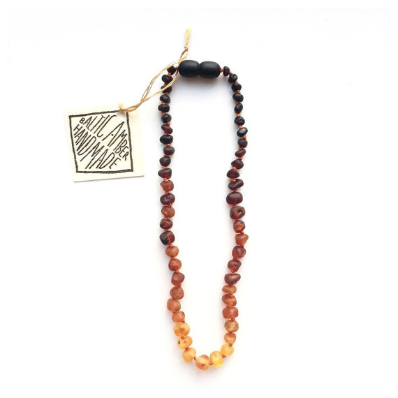 CanyonLeaf - Raw + Baltic Amber Necklace 12""