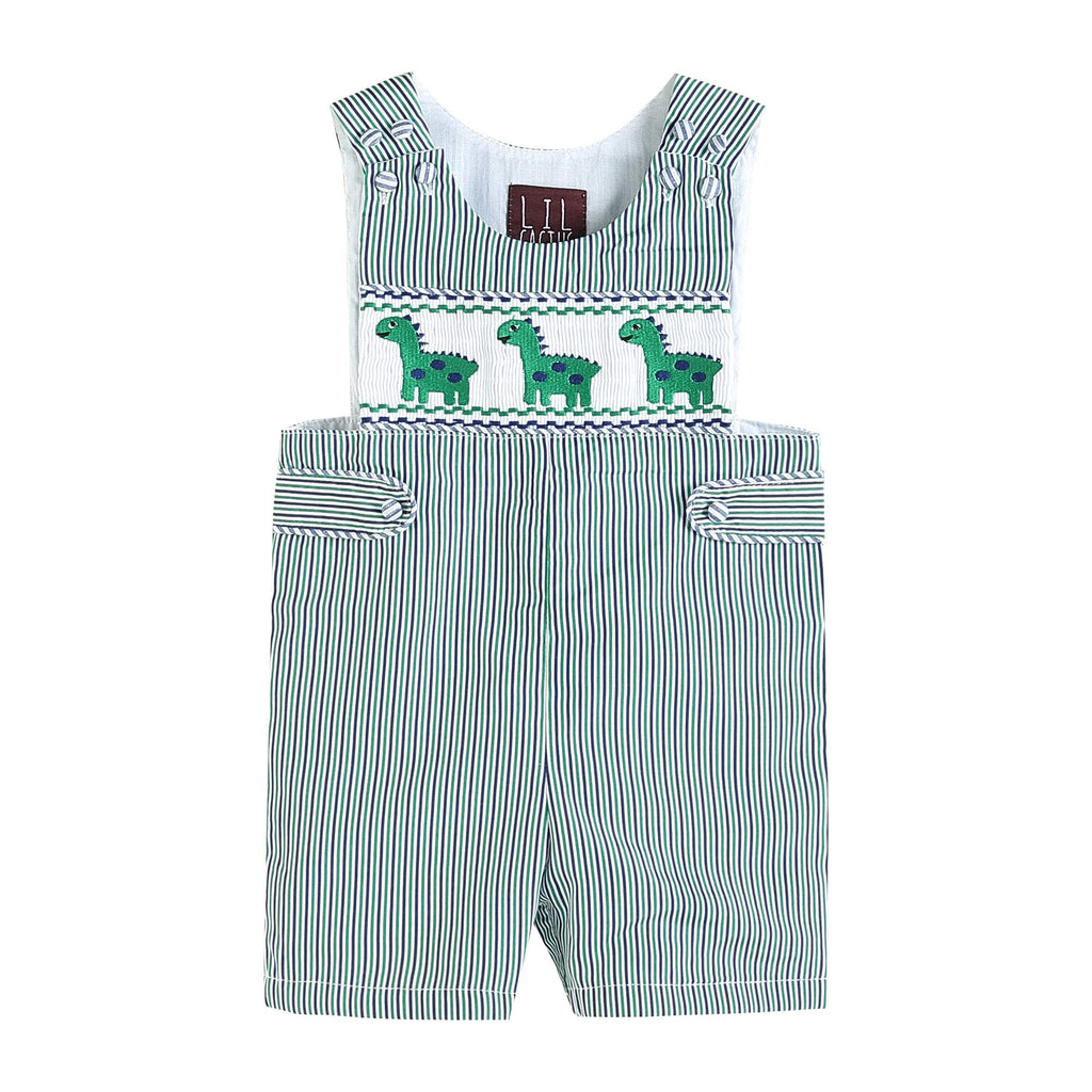 Lil Cactus - Blue and Green Stripe Dinosaur Smocked Shortalls