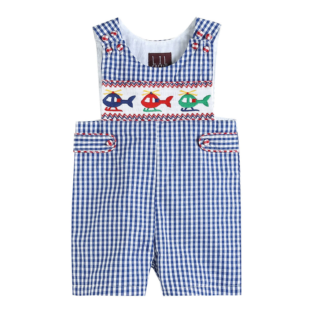 Lil Cactus - Blue Gingham Helicopter Smocked Shortalls