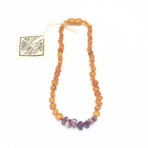 CanyonLeaf Vintage Style Baltic Amber with Amethyst Stones - Honey
