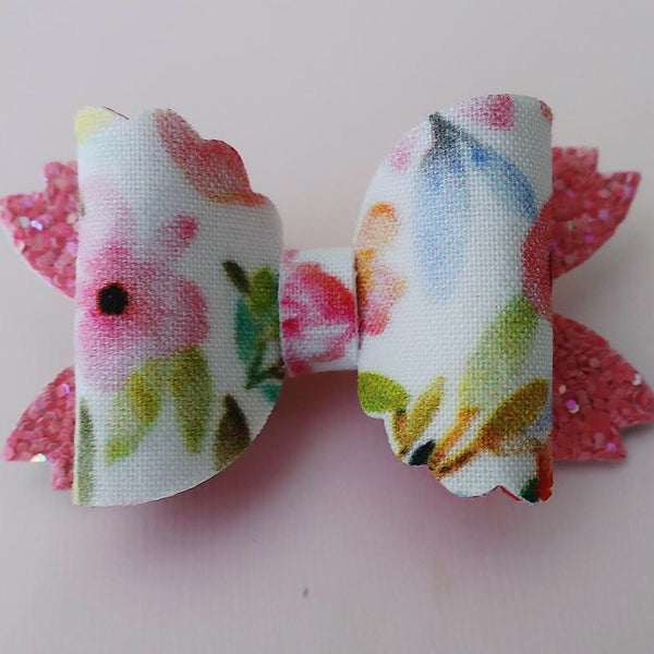 Pink Floral Mermaid Tail Bow