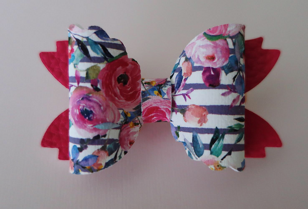 Stripes Floral Mermaid Tail Bow