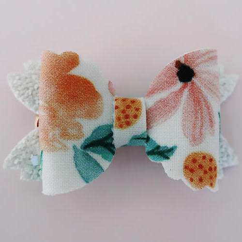 White Floral Mermaid Tail Bow