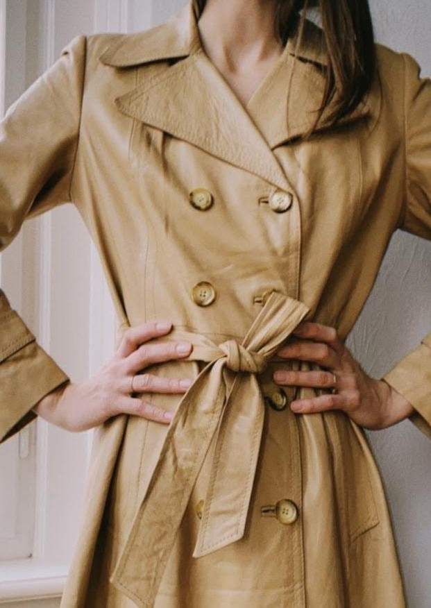 Cream Belted Leather Coat