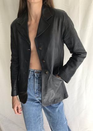 Black Leather Blazer Jacket
