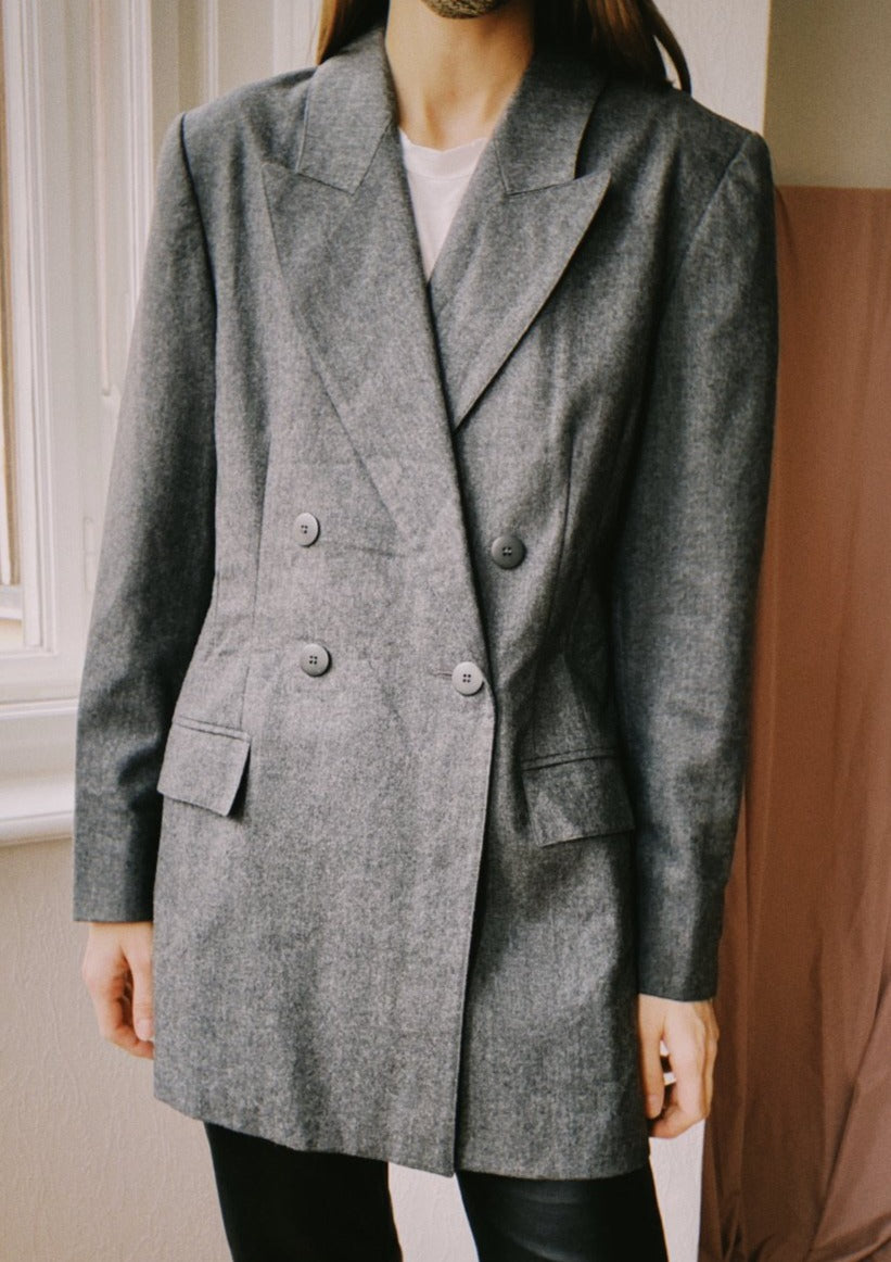 Light Grey Double-breasted Wool Blazer