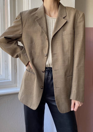 Checked Men's Wool Blazer-Jacket