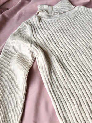 Beige ribbed turtleneck ~ 9-10 years