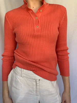 Salmon ribbed high neck sweater