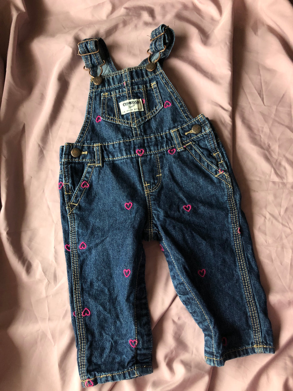Oshkosh blue denim dungaree for HER ~ 3-6 M