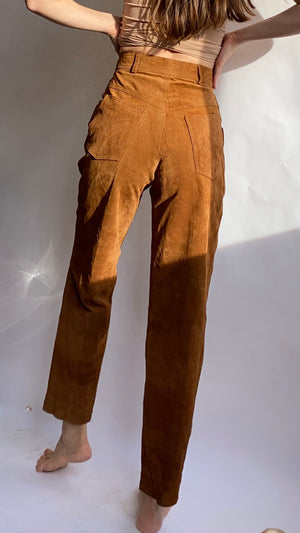 Camel Suede Leather Pants ~ XS