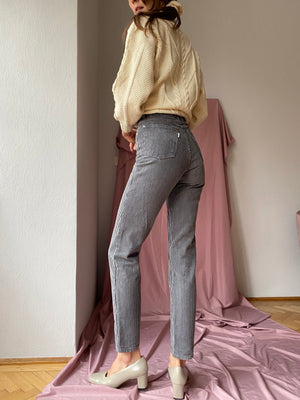 Grey Striped High-waisted Cotton Cigarette Jeans ~ XS