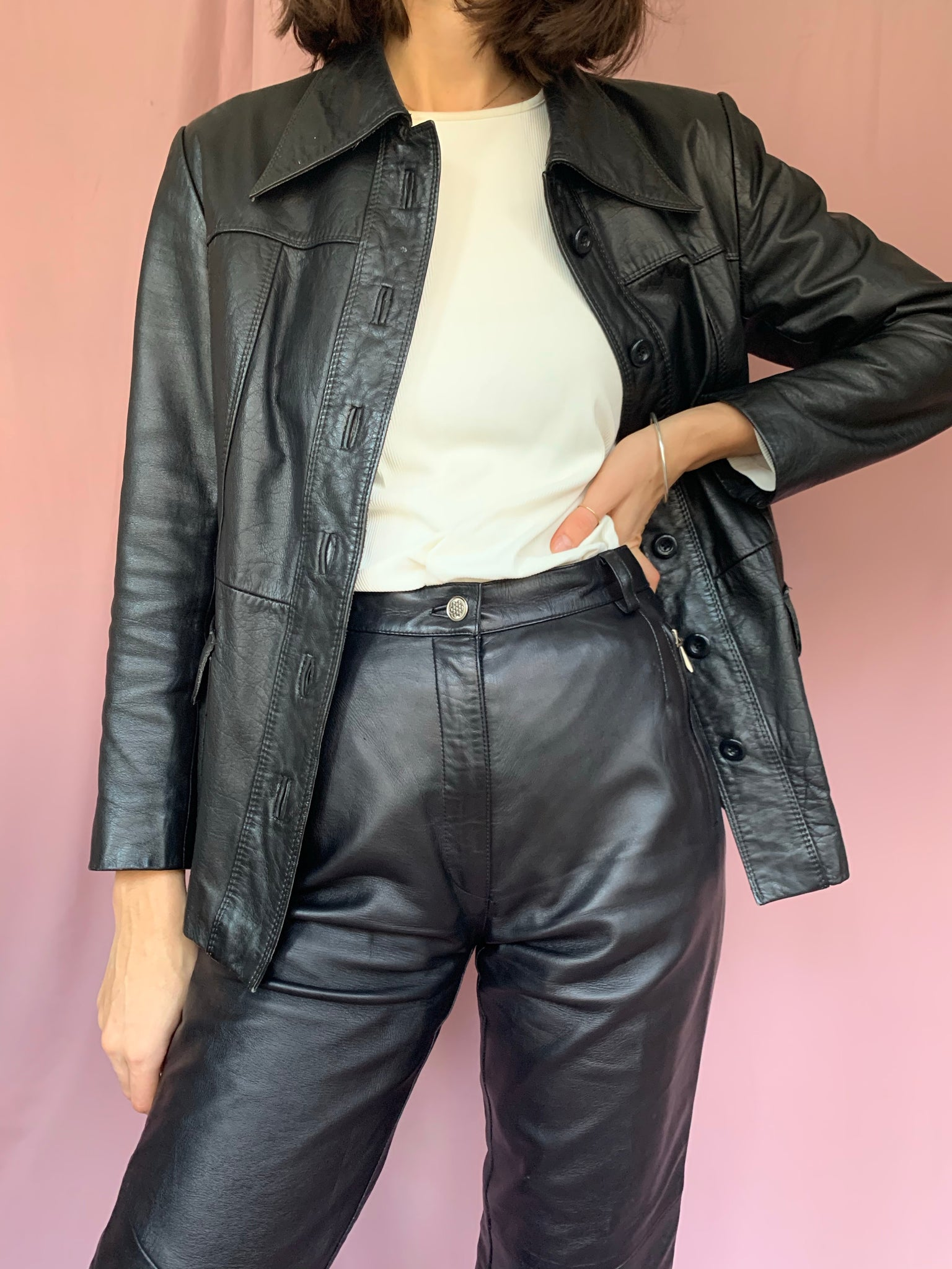 Black leather jacket with belt
