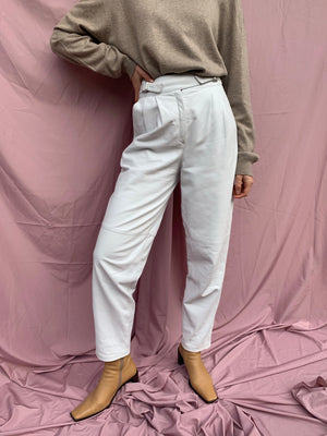 Pleat front leather pants ~ S