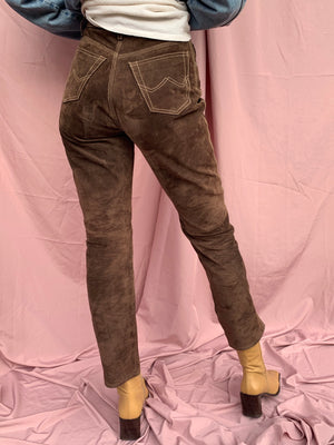 Chocolate suede leather pants ~ XS