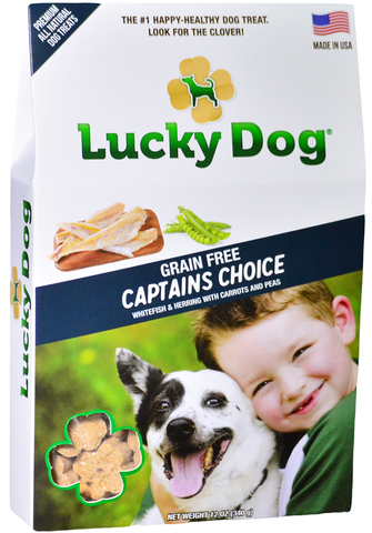 Lucky Dog® Treats Specialty Clovers Filler-Free & Grain-Free Captain's Choice (Fish) Recipe with Whitefish, Smoked Herring, Carrots, Peas, and Parsley (12 oz. box)