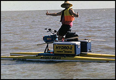 Ken on the Mississippi with his Hydrobike
