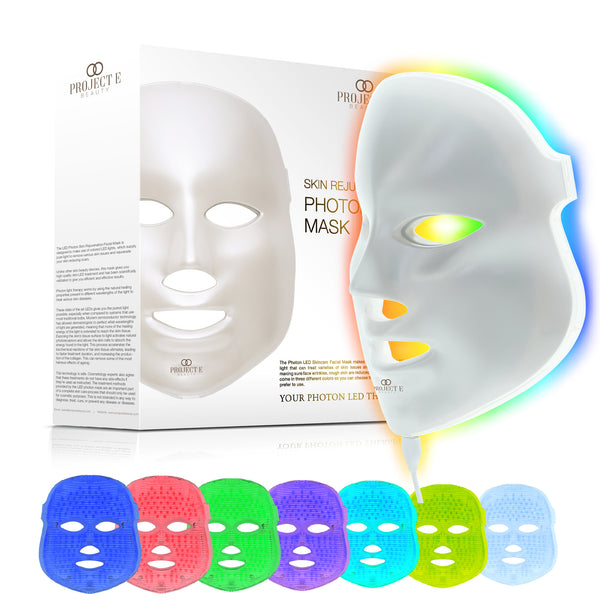 Skin Rejuvenation Photon Mask | 7 Color LED Photon Light Therapy Treatment Whitening Anti-aging Acne Spot Scar Removal Smooth Wrinkles Fine Lines Skin Tightening Facial Beauty Daily Skin Care - project-e-beauty