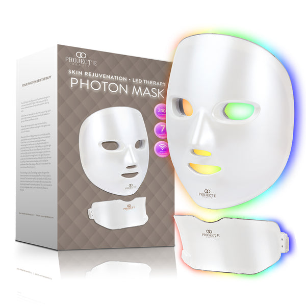 Photon Skin Rejuvenation Face & Neck Mask | Wireless LED Photon Red Blue Green Therapy 7 Color Light Treatment Anti Aging Acne Spot Removal Wrinkles Whitening Facial Beauty Daily Spa Skin Care Mask
