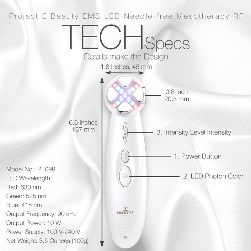 Needle-Free Mesotherapy Device | Wireless 3 Photons EMS Needle-Free Mesotherapy RF Radio Frequency Skin Facial Rejuvenation Firming Tightening Lifting Anti Aging All Skin Type Beauty Device