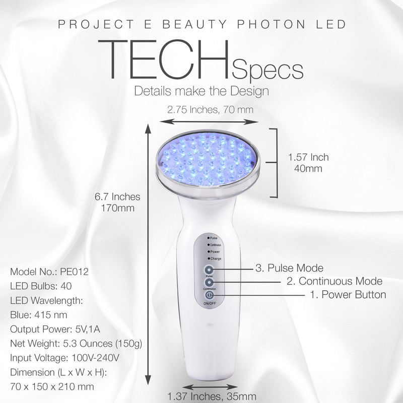 Blue LED+ Acne Light Therapy | 415nm Blue Photon LED Therapy Acne Spot Scars Removal Reduce Inflammation Reduce Inflammation Improving Sensitive Skin Calming Anti Bacteria Treatment Facial Device
