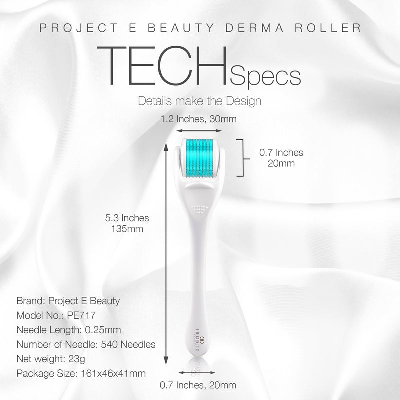 Derma Roller | 540 Titanium Micro Needle Facial Roller Microneedle Beauty Cosmetic Needling for Skin Care Face .25mm 0.25mm Dermaroller Kit Microneedling for Scars Wrinkles Fine lines Anti aging Home Use Men Women - project-e-beauty