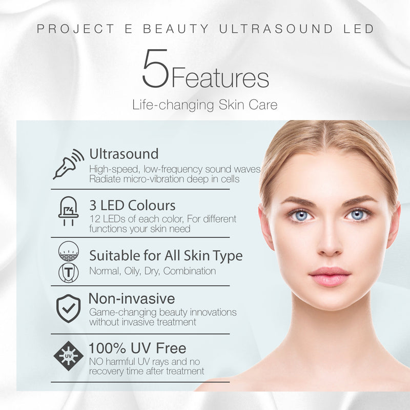 LED 3 Colors Photon Ultrasonic Ultrasound Skin Care Home Beauty Facial Device - project-e-beauty