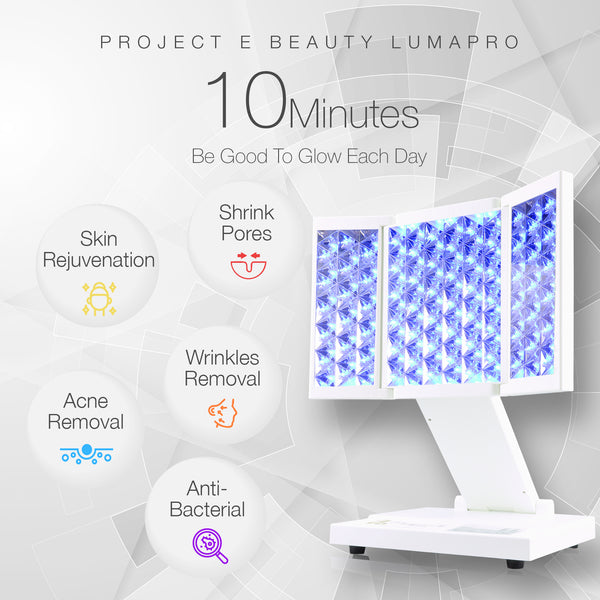 LumaPro | Pro LED Skin Care Light Therapy 7 Color Modes Facial Body Light Treatment Anti Aging Acne Spot Removal Skin Rejuvenation Toning Tightening Fine Lines Blue Red Yellow Desktop Lamp