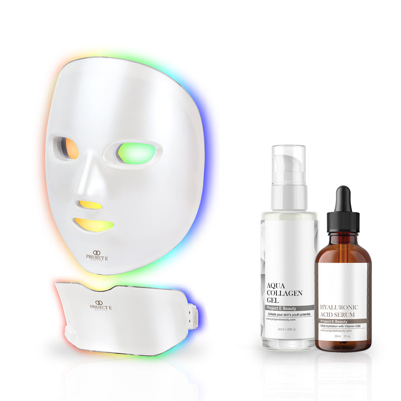 Photon Skin & Neck Rejuvenation Hydration Set | Face & Neck LED Mask 7 Color Light Treatment Hyaluronic Acid Serum Aqua Collagen Gel Firming Anti Aging Acne Spot Removal