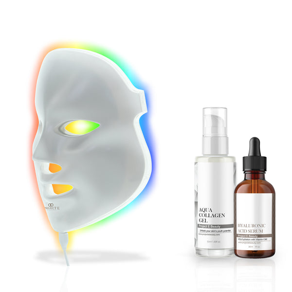 Photon Skin Rejuvenation Hydration Set | LED Mask Hyaluronic Acid Serum Aqua Collagen Gel Whitening Plumping Anti-aging Acne Spot Scar Removal