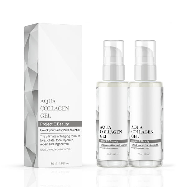 Duo Aqua Collagen Skin Care Set | Double Natural Organic Skin Care Vitamin C Facial Eye Anti Aging Fine Lines Wrinkles Lifting Tightening Plumping Firming Serum Lotion Ion Gel 50ml X2