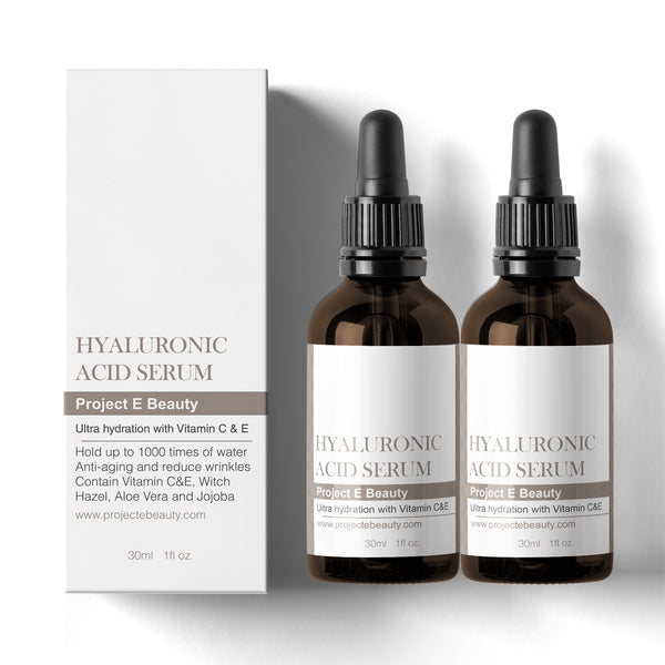 Duo Moisture Rich Hyaluronic Acid Serum Set | Double Vitamin C & Vitamin E Plumping Oil-Free Glowing Complexion Anti-Aging Lifting Wrinkles Finelines Hydrating Moisturizing for Skin Care Facial & Eyes 30ml X2