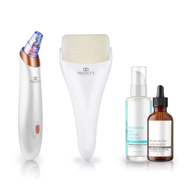 Blackhead Removal & Calming Skin Care Set | Vacuum+ Ice Roller Cold Therapy Face Eye Body Massage Intensive Eye Repair Essence Hyaluronic Acid Serum Eye Puffiness Brightening Cooling Moisturizing